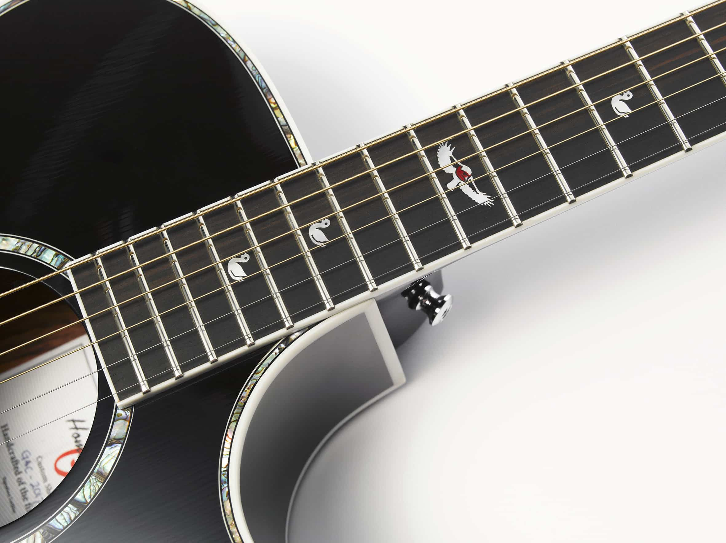 """De gitaar van Robin van de Poll (Directeur Homestead Guitars). Een Grand Auditorium met Mother of Pearl inlay van een Roodborsje """"Robin"""""""